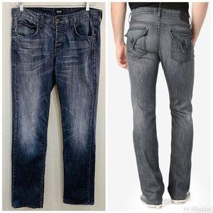 Hudson Byron Flap Pocket Straight Leg Jeans Sz 33